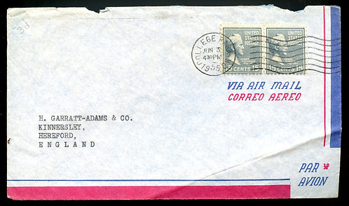 U.S. Scott 820 (2) Prexies on 1955 Air Mail Letter to England