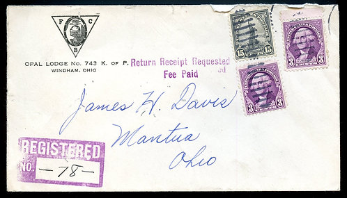 U.S. Scott 696, 720 (2) on 1935 Registered Knights of Pythias Ad Cover