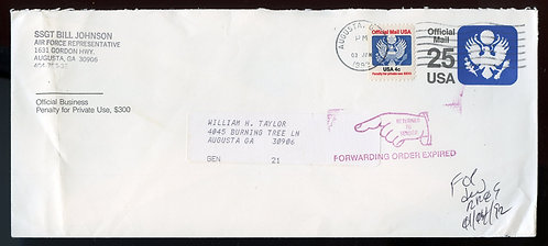 U.S. Scott O128 on UO77 1992 Official Mail Cover Returned to Sender