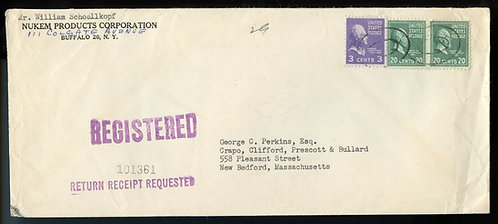 U.S. Scott 825 (2) and 807 Prexies on Registered Return Receipt 1953 Cover