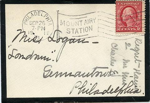 U.S. Scott 406 on 1912 Mourning Cover Sent from Philadelphia, Pennsylvania