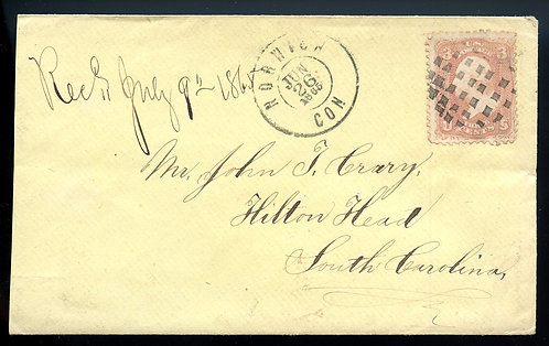 U.S. Scott 65 on 1865 Cover from Norwich, Connecticut to Hilton Head, SC