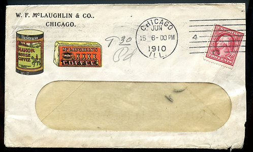 U.S. Scott 332 on 1910 2-Sided Ad Cover for McLaughlin Coffee Company