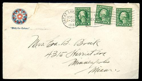 U.S. Scott 498 (3) on 1918 Serviceman's Letter from Camp Paul Jones in Illinois