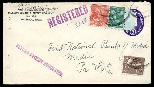 U.S. Scott 825, 815, 812 Prexies on U534 Reg. Ret. Rcpt. 1953 Iowa Cover