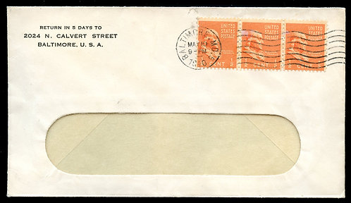 Scott 803 (3) on 1940 Baltimore, MD Cover Paying Third-Class Single Piece Rate