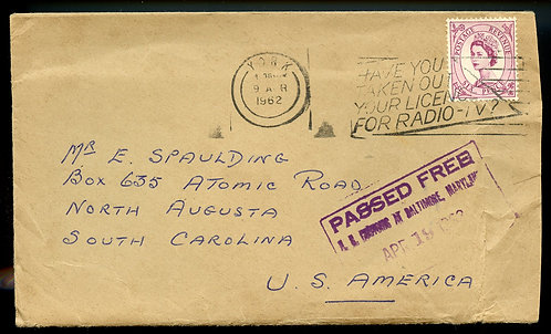 """Great Britain QE II 6D to North Augusta, SC w/""""PASSED FREE"""" Customs & Encl."""