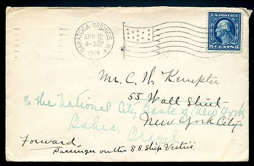 U.S. Scott 404 Washington-Franklin on 1919 UPU Cover to Brazil