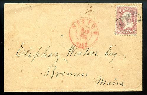 U.S. Scott 65 on 1866 (?) Boston, Massachusetts PAID Cover
