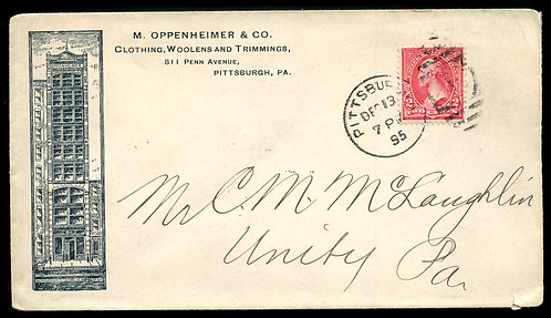 U.S. 1st Bur. Issue on 1895 Ad Cover for Oppenheimer & Co. in Pittsburgh, PA