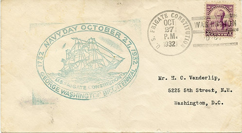 U.S. Scott 725 On 1932 U.S. Frigate Constitution Navy Day Cover