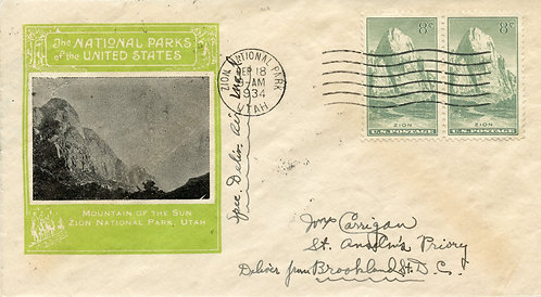 U.S. Scott 747 FDC Post Marked in Zion National Park, Utah