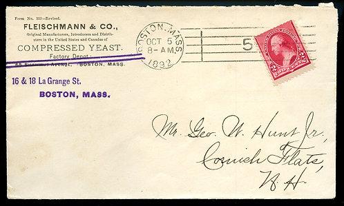 U.S. Scott 220 on Ad Cover for Fleischmann & Co. In Boston, Massacusetts
