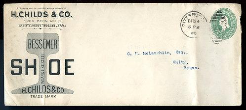 U.S. Scott U311 1895 Stamped Envelope w/H. Childs & Co. Shoe Ad