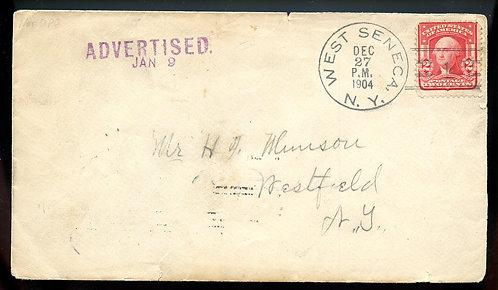 "U.S. Scott 319 on 1904 Westfield, New York ""ADVERTISED"" Letter"