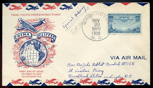 U.S. Scott C20 25 Cent Trans-Pacific Air FDC Post Marked in Washington, DC