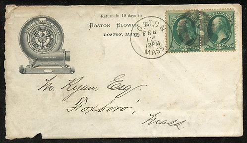 U.S. Scott 147 (2) on 1870s-Era Ad Cover for the Boston Blower Co.