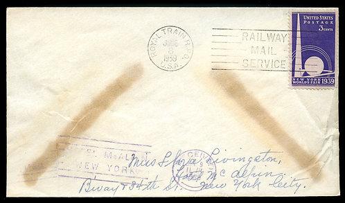 U.S. Scott 853 on 1939 Royal Train RPO Railway Mail Service Cover