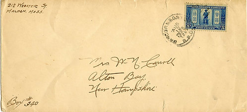 U.S. Scott 619 on 1925 Bangor & Boston RPO Letter to Alton Bay, New Hampshire
