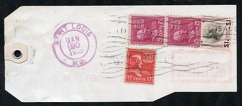 U.S. Scott 832, 829 (2), and 822 Prexies on Reg. 1955 MO Bank Tag