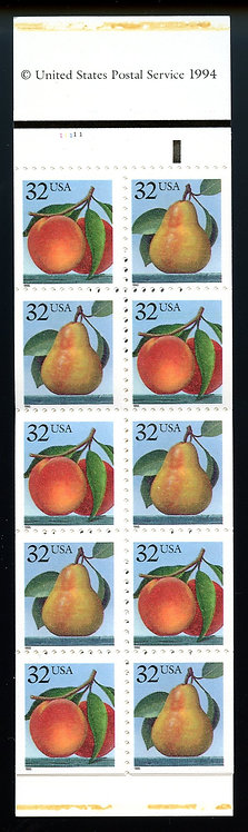 copy of U.S. Scott 2487-2488 MNH Booklet (BK178) Picturing Peaches & Pears