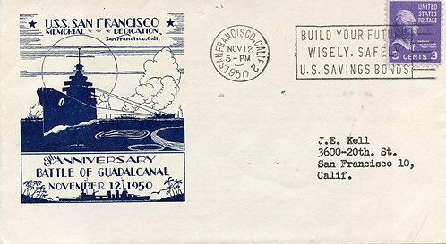 U.S. Scott 807 On U.S.S. San Francisco & Battle of Guadacanal Memorial Cover