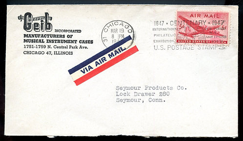 U.S. Scott C32 on 1947 Cover for Geib Musical Instrument Case Manufacturer
