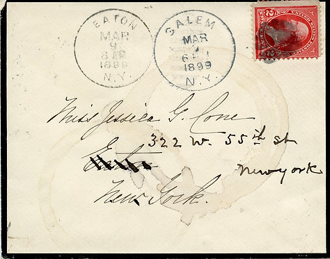 U.S. Scott 279B on 1899 Mourning Cover Sent from Salem, New York