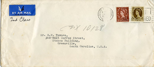 Great Britain QE II 2.5D & 1 Shilling On Air Mail from South Kensington To US