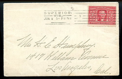 U.S. Scott 324 on 1904 Cover with Barry Rectilinear Machine Cancel