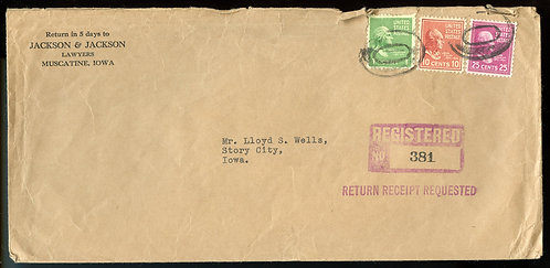 U.S. Scott 829, 815 and 804 Prexies on Registered Return Receipt 1949 Cover