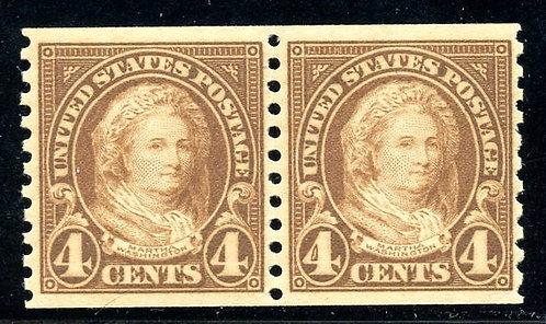 U.S. Scott 601 FVF MNH Horizontal Coil Pair