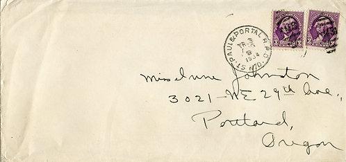 U.S. Scott 720 (2) on 1934 St. Paul & Portal RPO Letter to Portland, Oregon