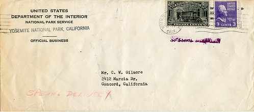 U.S. Scott 807 and E19 on Cover w/Corner Card for Yosemite National Park