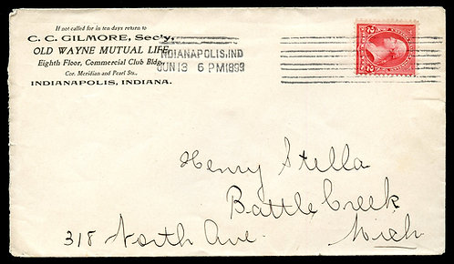 U.S. Type III 1st Bur. Issue on 1899 Ad Cover for Old Wayne Mutual Life