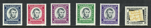 Nicaragua Scott C437-C442 VF MNH Set Picturing Abraham Lincoln