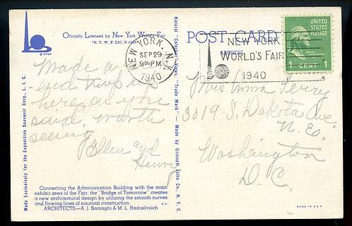 U.S. Scott 804 on 1940 NY World's Fair Post Card w/Fair Slogan Cancel