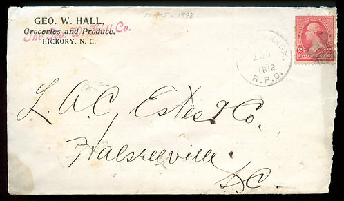 U.S. 1st Bur. Issue on 1890s RPO Ad Cover for Claremont College & Hall Grocers