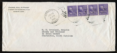 U.S. Scott 842 (4) Line Strip on 1950 Airmail Special Delivery Cover