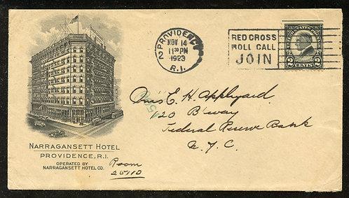 U.S. Scott 610 on 1923 Ad Cover for the Narragansett Hotel in Providence, RI