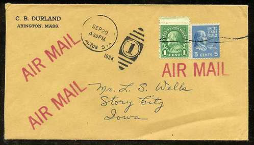 U.S. Scott 810 and 632 on 1954 Abington, Massachusetts Airmail Cover