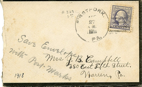 U.S. Scott 529 on 1918 Mourning Cover Sent from Firstfork, Pennsylvania