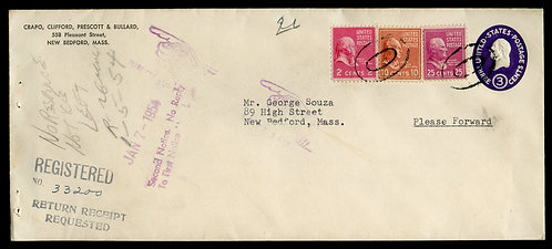 U.S. Scott 829, 815 and 806 Prexies on Registered Return Receipt 1954 Cover