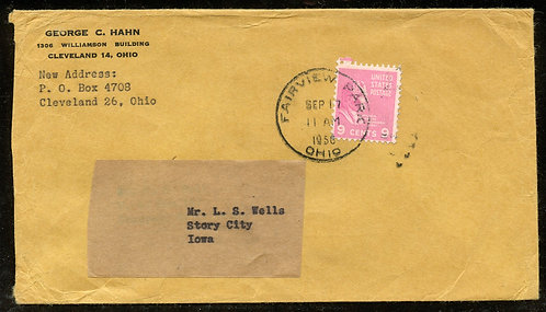 U.S. Scott 814 on 1950 Fairview Park, Ohio Triple Weight First-Class Cover
