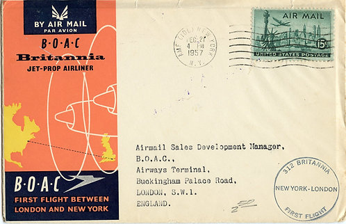 U.S. Scott C35 on 1957 Cover for BOAC's First New York to London Flight