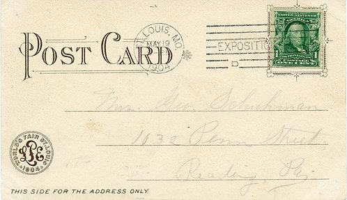 U.S. Scott 300 On 1904 Post Card from St. Louis World's Fair w/EXPO Cancel