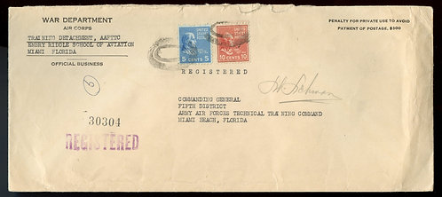 U.S. Scott 815, 810 Prexies On Registered 1943 Penalty Envelope
