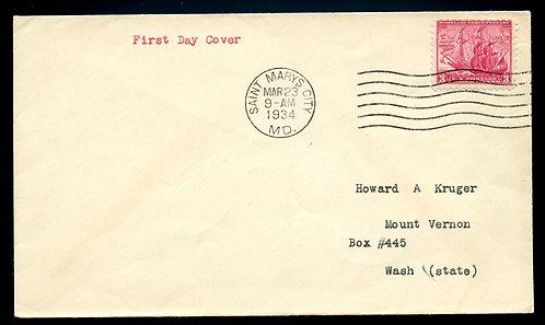 U.S. Scott 736 FDC Post Marked in Saint Mary's City, Maryland