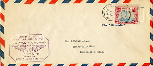U.S. Scott C11 on 1929 Cover Inaugurating Air Service Between St. Paul & Chicago