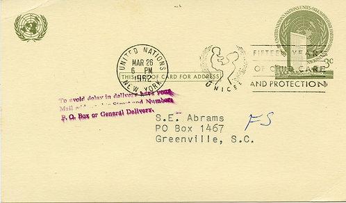 U.N. Scott UX2 Postal Card Sent to Greenville, SC with Handstamp